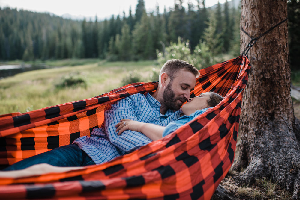 Indian Peaks-Brainard Lake-Colorado Engagement hammock snuggles