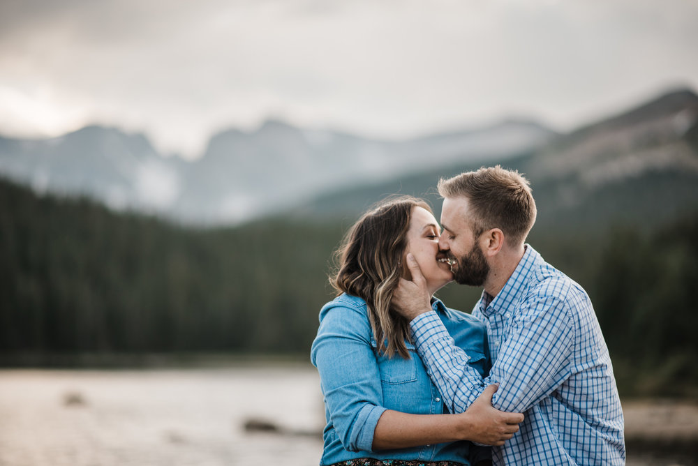Indian Peaks-Brainard Lake-Colorado Engagement sunset kiss