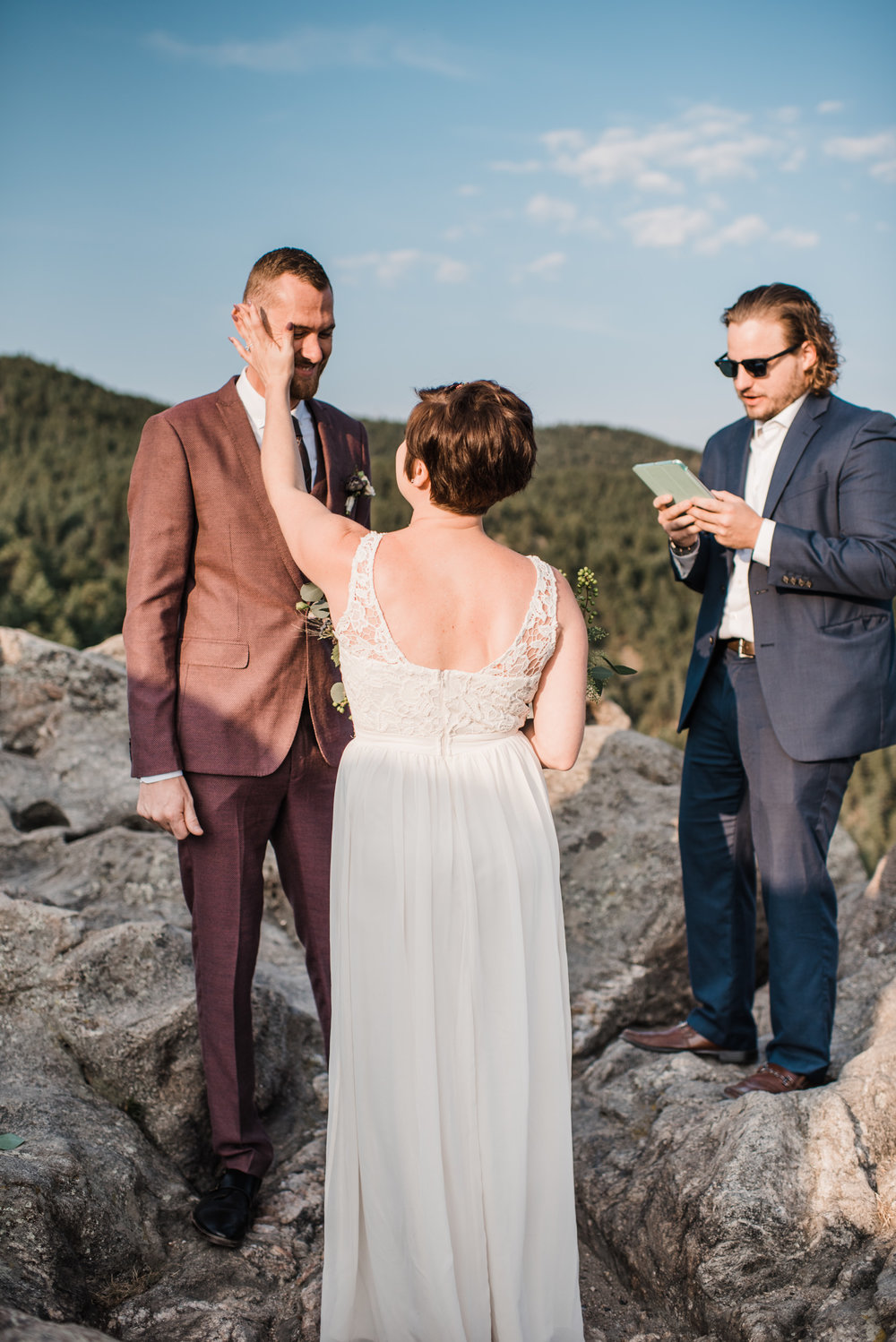 Boulder Colorado sunrise elopement on cliff