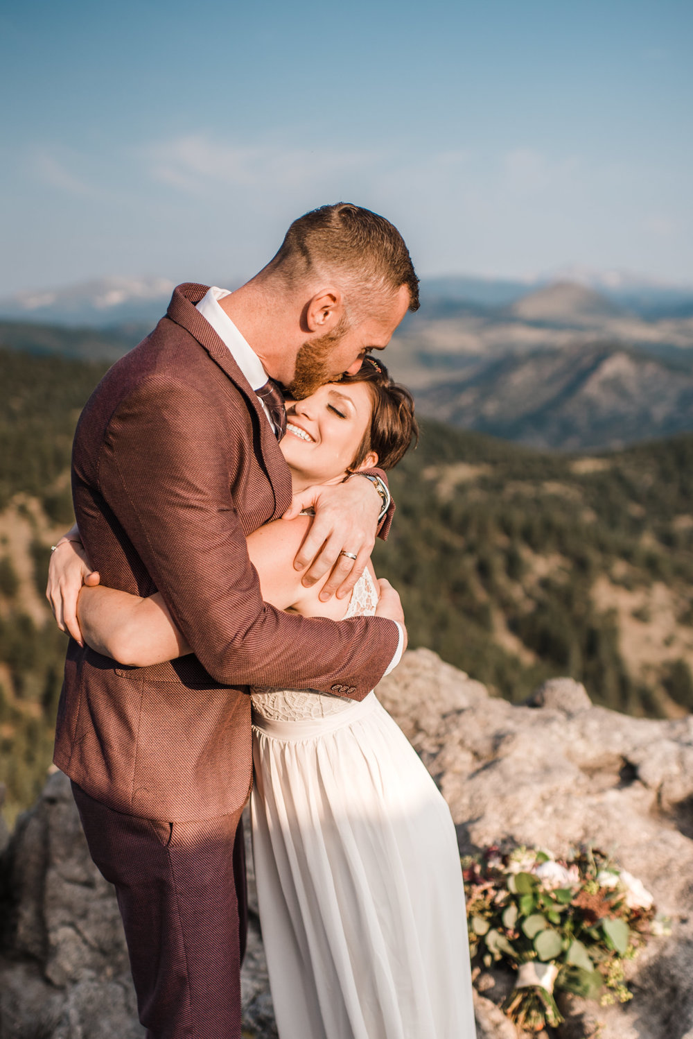 Boulder Colorado sunrise adventure elopement on cliff