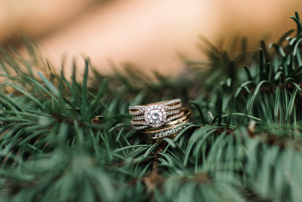 Boulder Colorado sunrise adventure elopement on cliff with rings