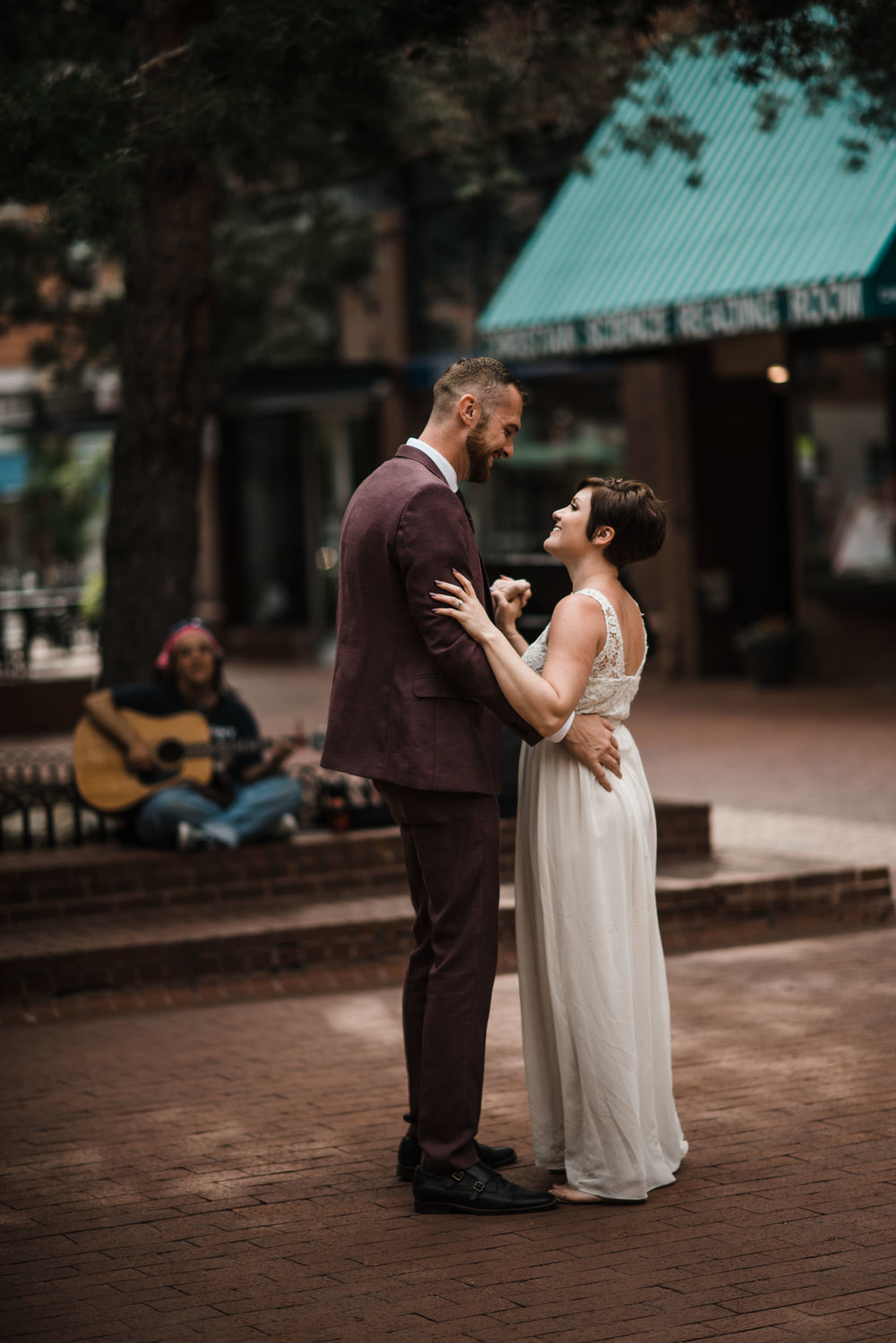 Boulder Colorado sunrise adventure elopement pearl street
