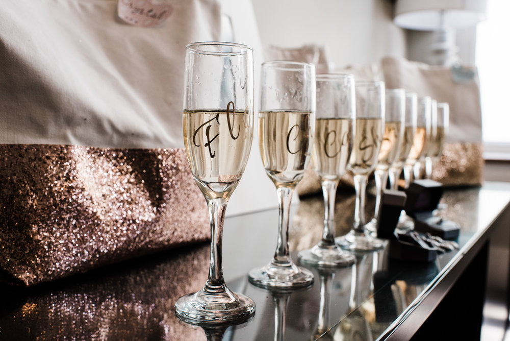 Beautiful champagne glass of a stunning Colorado mountain wedding photographer