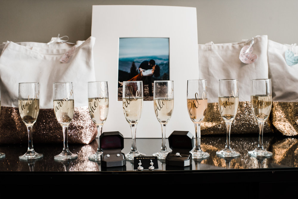 Details of Beautiful champagne glass of a stunning Colorado mountain wedding photographer