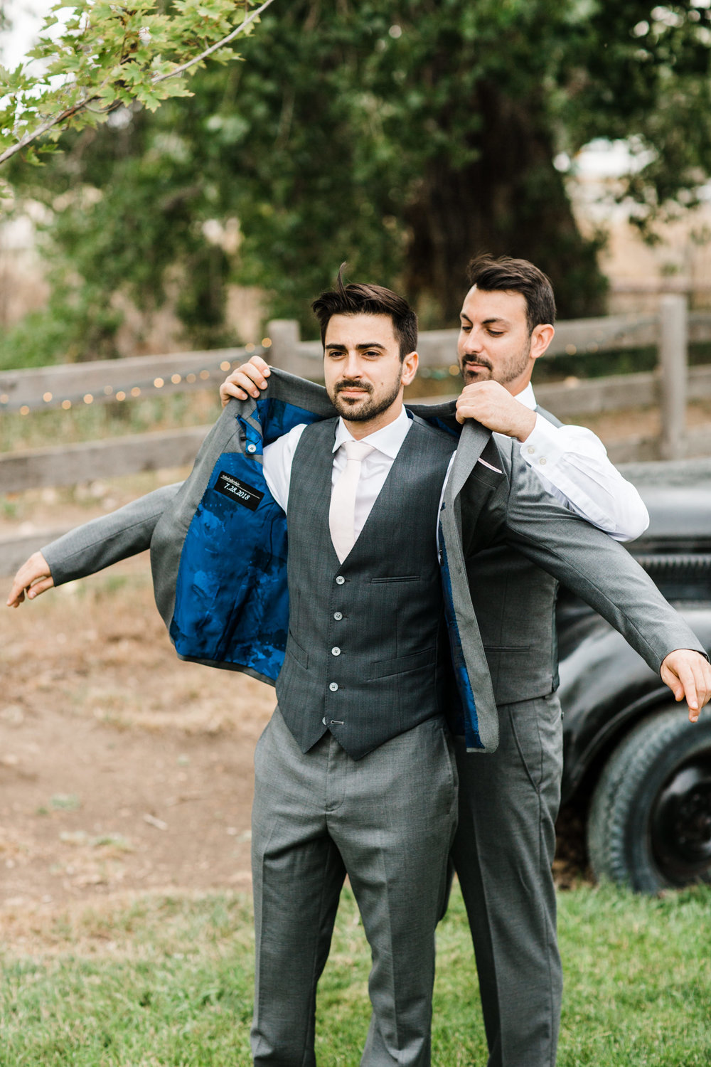 Groom getting read at Colorado mountain wedding photographer