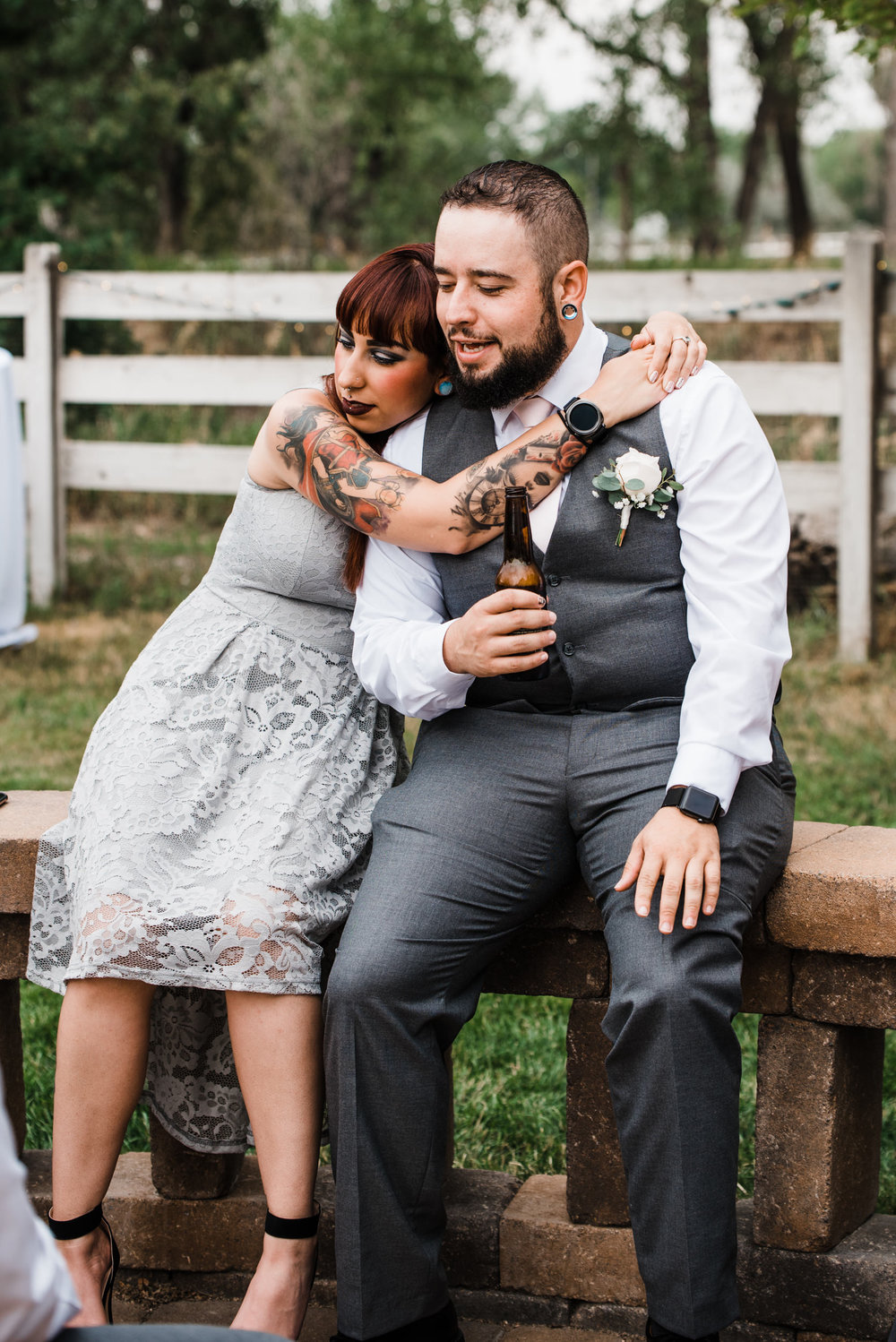 Guests partying at spirited, genuine, colorful Colorado mountain wedding photographer