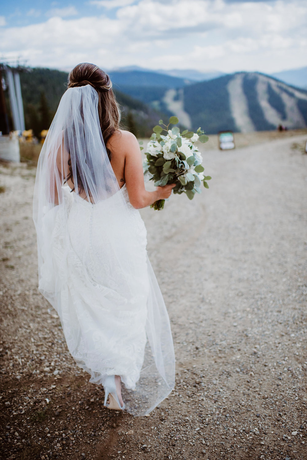 Bride at first look at Keystone, Colorado mountain wedding