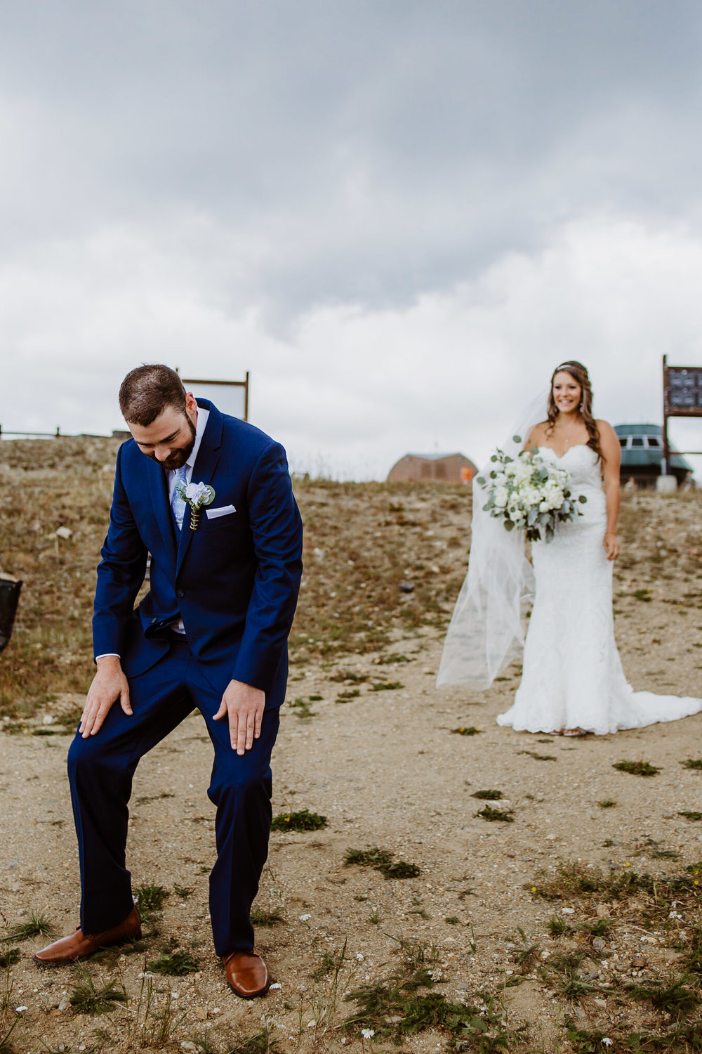 Bride and groom at first look at Keystone, Colorado mountain wedding