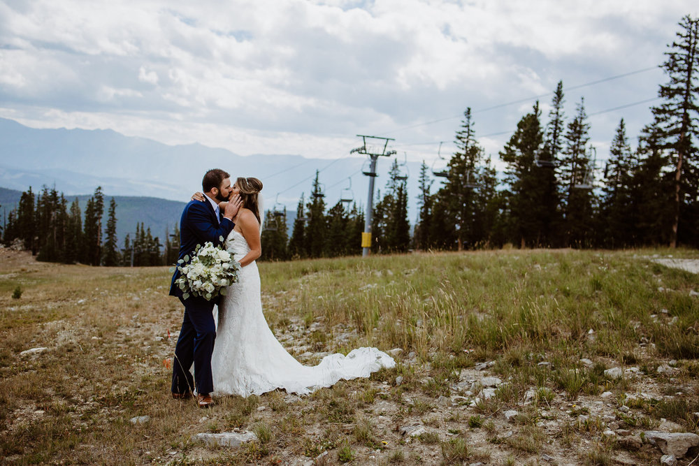Bride and groom at Keystone, Colorado mountain wedding