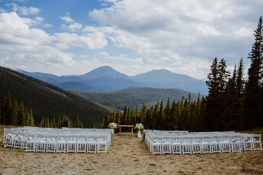 Mountain outlook at Timber Ridge at Keystone, Colorado mountain wedding