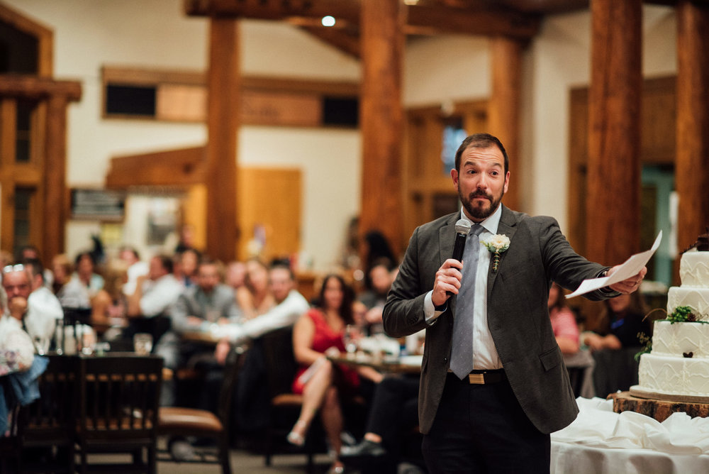 Speeches at TImber Ridge at Keystone, Colorado mountain wedding