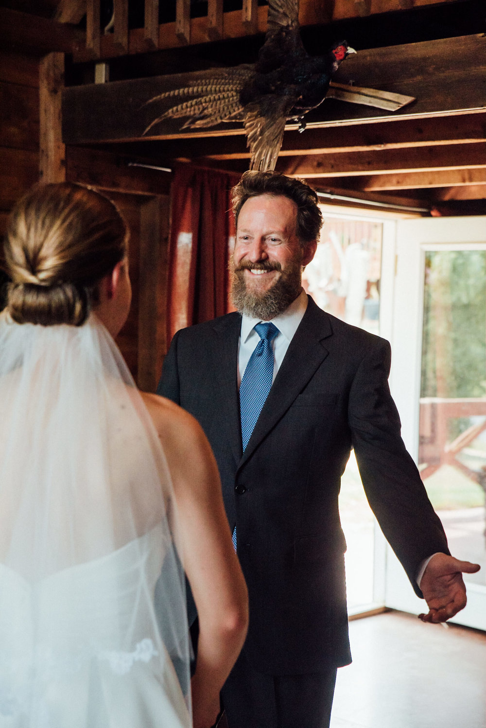 First look with Dad at gorgeous Colorado wedding photographer
