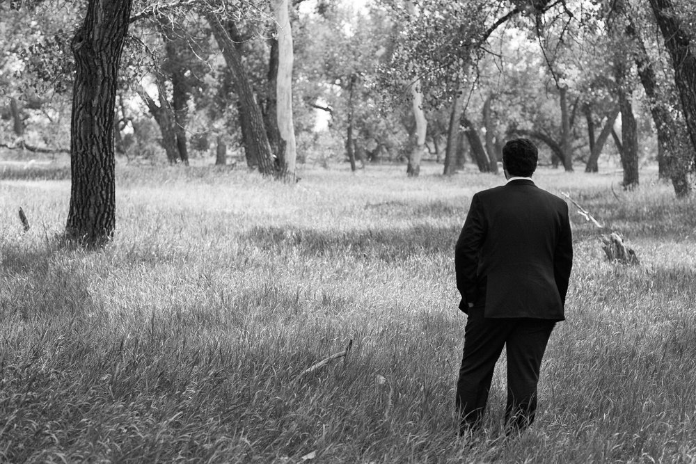 Groom waiting for Bride at gorgeous Colorado wedding photographer