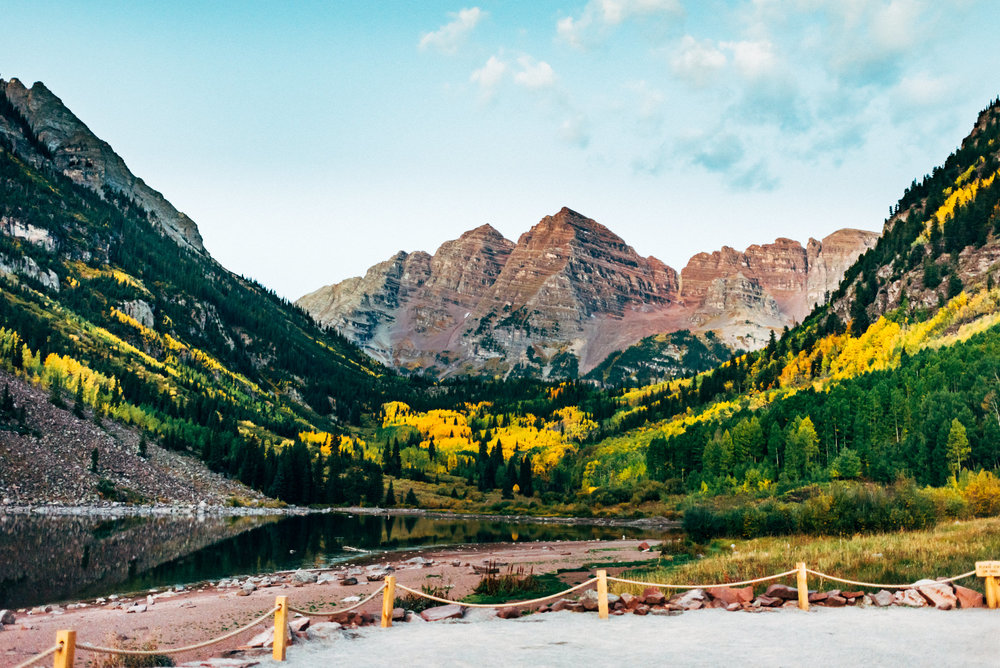 Elopement at the iconic Maroon Bells, Aspen Colorado