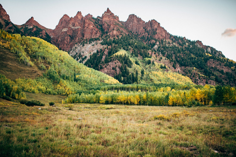 valley view of Elopement at the iconic Maroon Bells, Aspen Colorado