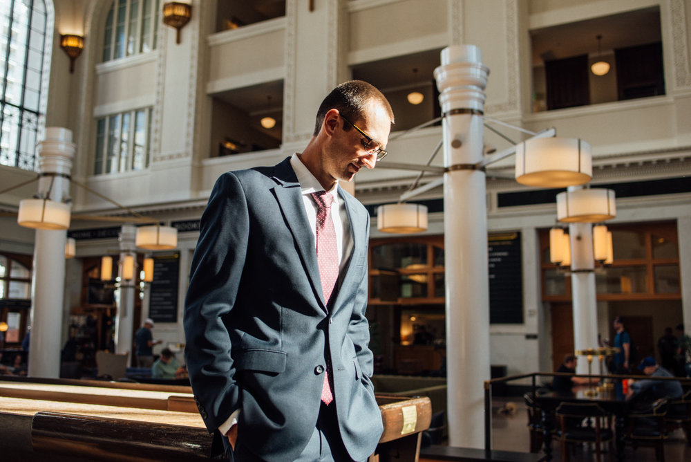 Colorado Denver Downtown Urban Wedding Colorado Wedding Photographer Groom Waiting for Bride