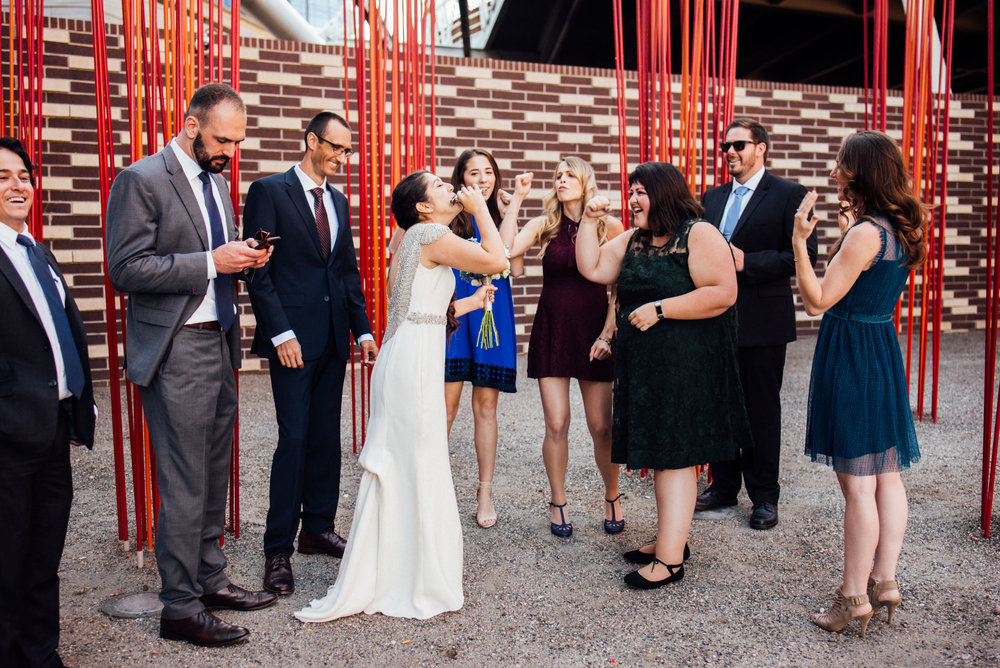 Colorado Denver Downtown Urban Wedding Colorado Wedding Photographer Friends Having Fun