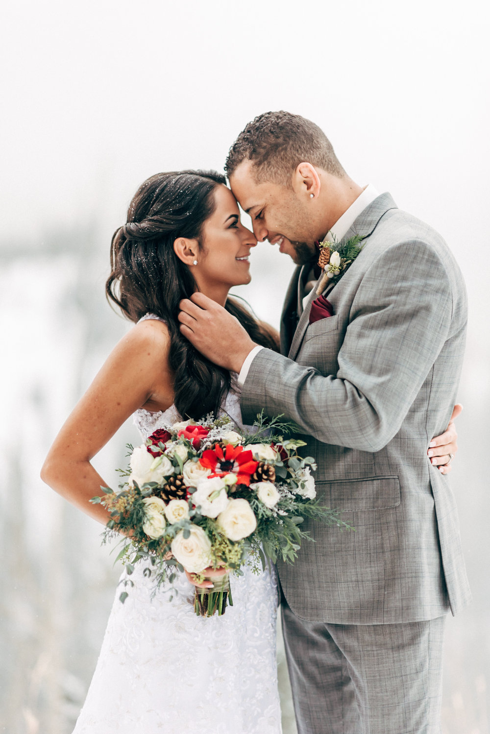 Bride and Groom in love at beautiful Colorado Wedding photographer.