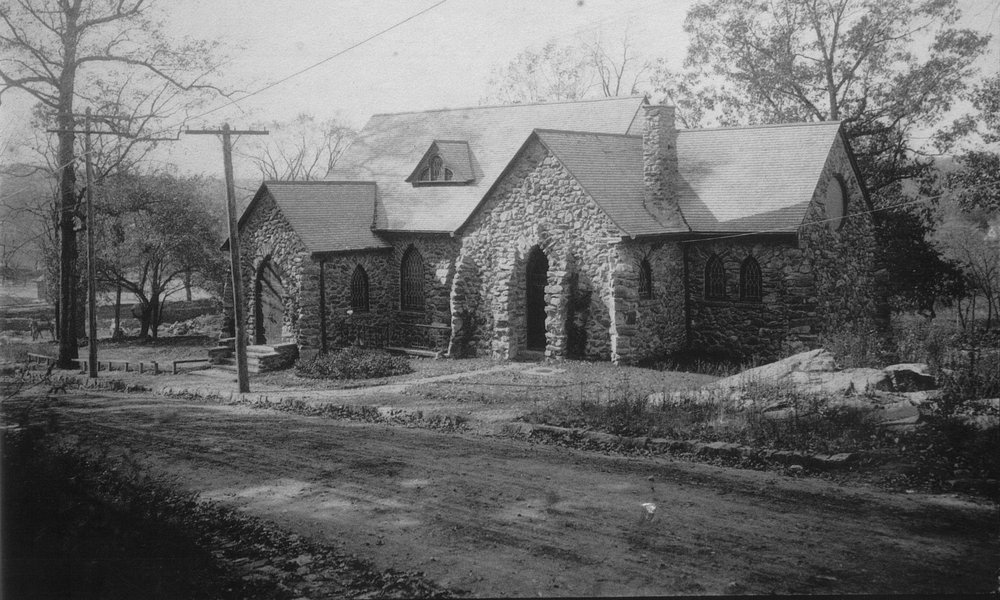 1901 - The original Christ Church - at the intersection of the present-day Kensington and Sagamore Roads, where the columbarium is today. This early picture shows the church before it was covered by vines and before Sagamore Road was paved.