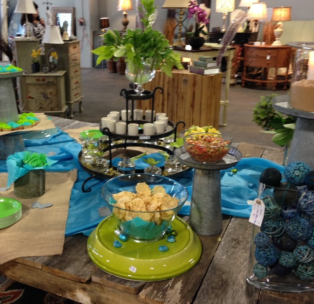 This was part of a larger table scape for the grand opening of my friend's store, Simply Unique Finds. Most of the display pieces were for sale.