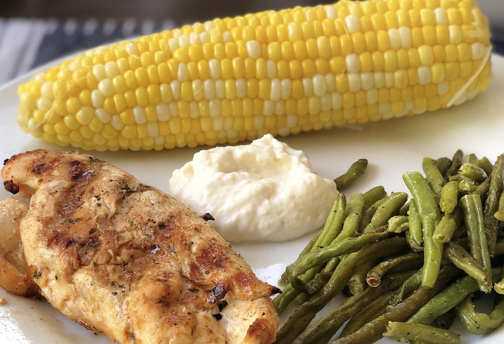 Menu  -  Mesquite Grilled ChickenCorn on the CobStreet Corn SauceRoasted Green Beans