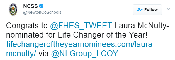 Twitter - Share your nominee's profile by tweeting a link to it using #LCOY – include a message about how the nominee has had an impact on your school or district.