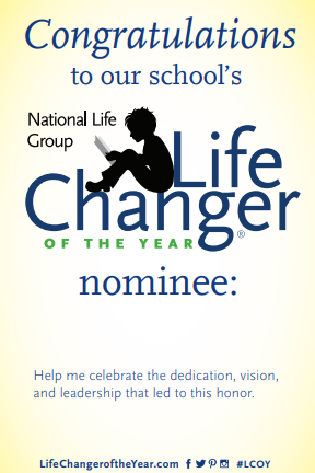 "Nominee Handout Card - Customize multiple 4x6"" cards with the nominee's name and pass them out when you visit their school.Category #64556"