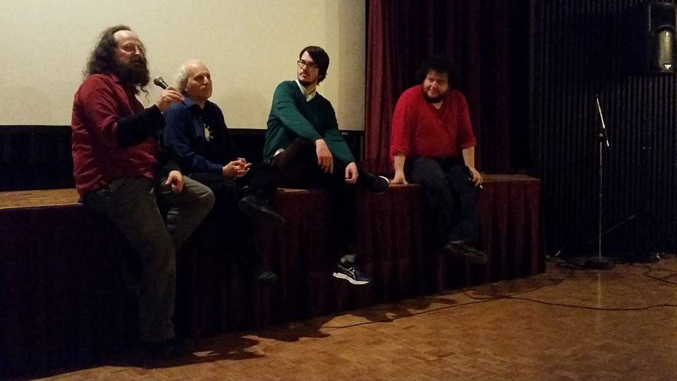 L-R: John Creson, Adam Rosen, Brian Wilson, and Stephen Broomer at  Leave the World Unseen: Travelogues & Diaries , Polish Combatants' Hall, the8fest 2016, January 30, 2016. Photo by Alexandra Gelis.