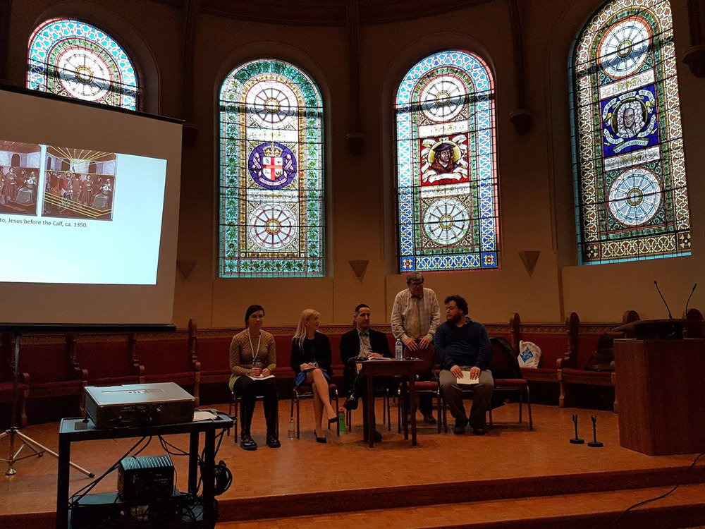 At the  Toronto School: Then, Now Next  conference, Victoria College Chapel, October 16, 2016. L-R: Irina Lyubchenko, Isabel Pedersen, Ihor Junyk, R. Bruce Elder, Stephen Broomer.