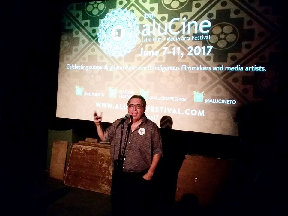 Willie introducing his films at CineCycle, June 11, 2017. Photo by John Porter.