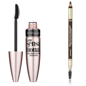 Right to Left: Maybelline Lash Sensational ($6.79), L'Oreal Paris Brow Pencil ($6.59)