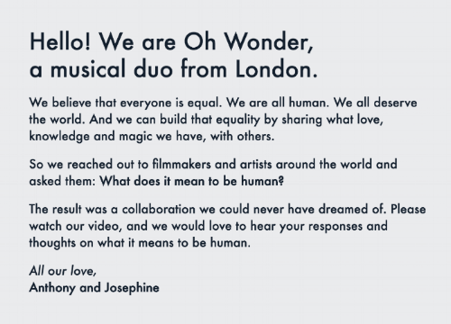 A statement from Oh Wonder that can be found on their website. (ohwonder.com)