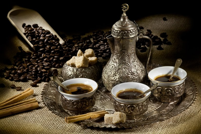 Turkish Coffee - Turkish Coffe with Cezve, cups, and spices.