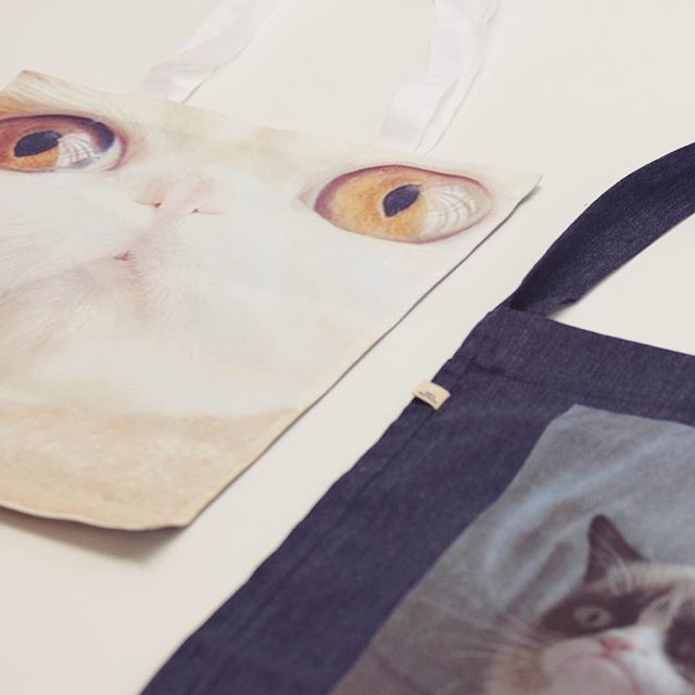 Testing out new print products about to drop this week... can you tell we like #cats ? . . . . #printondemand #customized #shopify #totebag #recycled #catsofinstagram #printing #creative #doityourself #business #fanart #kitecreate #style #art