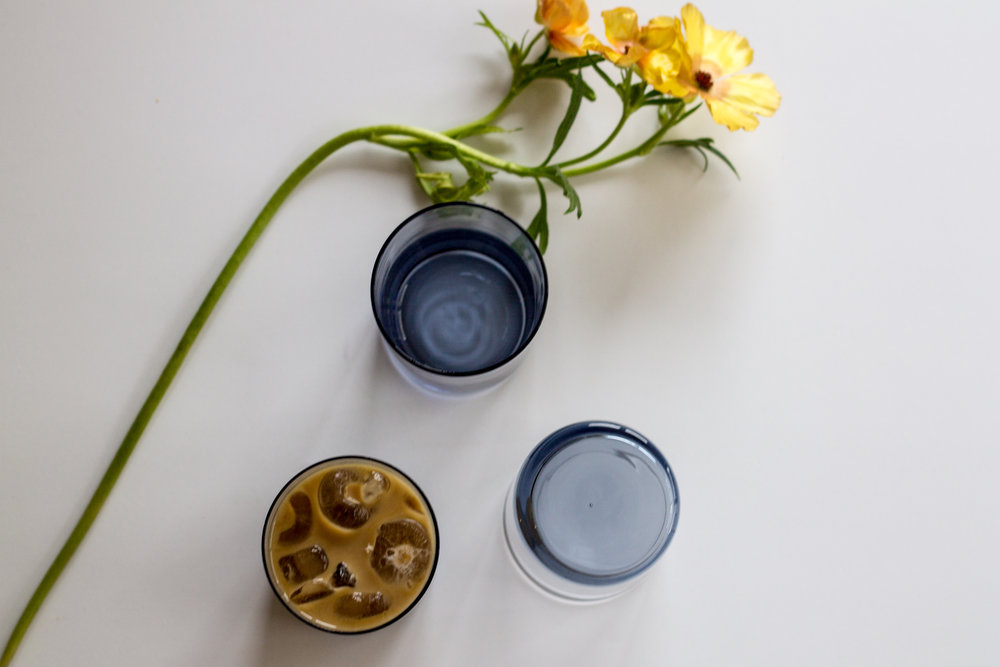 Canvas Home MaryClare Tumblers + coffee + ranunculus