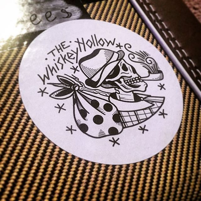 New @the_whiskey_hollow  sticker on James's guitar case, and we couldn't be more proud. #artmakescbus #swag #tweedcase #lifeincbus