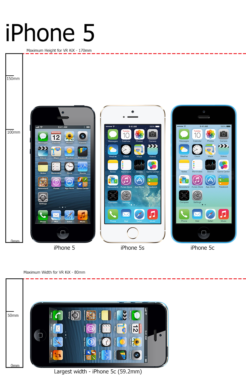 All iPhone 5 Series will fit the VR KIX tray.