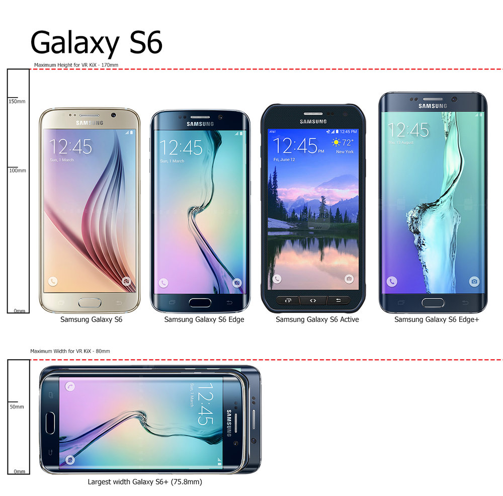 All phones in the Samsung galaxy  S6 line will fit in the VR KIX phone tray. You may have to remove  your protective case on the S6 Edge+.