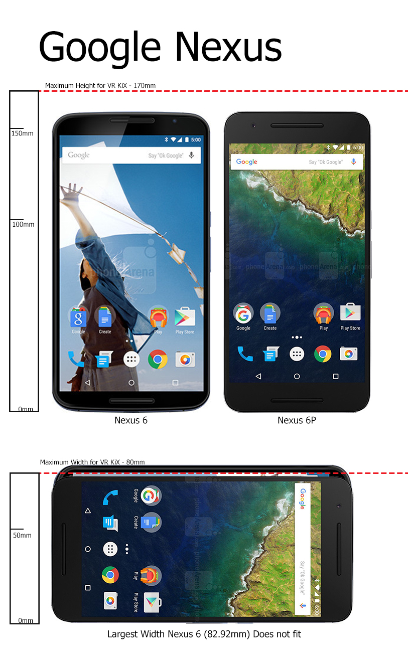 The Google Nexus 6P will fit the VR KIX smartphone tray and the Nexus 6 will not fit. As you can see in the graphic above, the Google Nexus 6 exceeds the 80 mm maximum width.