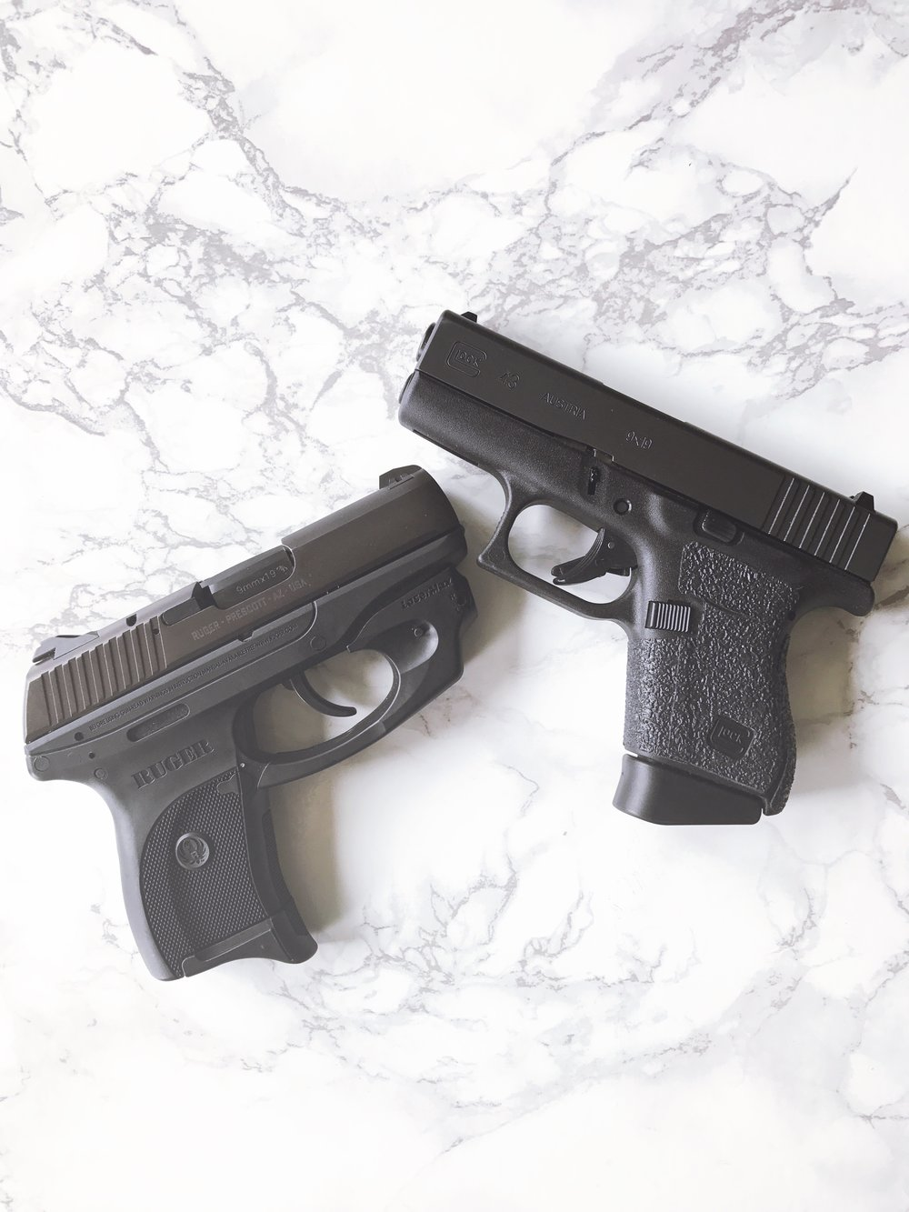 Ruger LC9 (L) and Glock 43 (R)