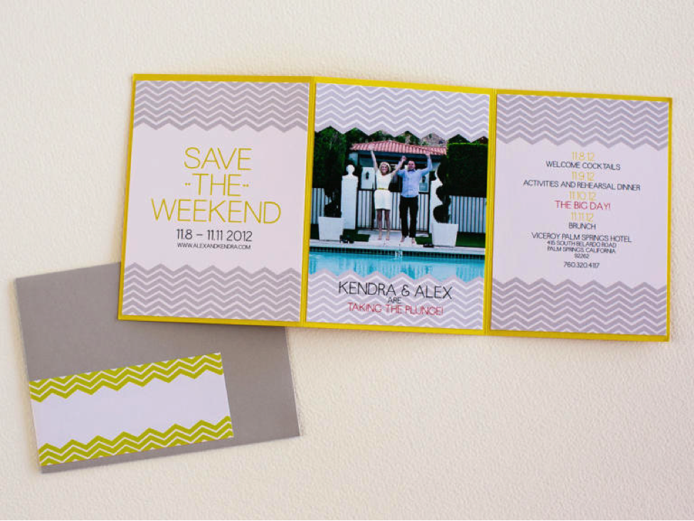There are many couples who would rather spend more than just a day with their family and friends to celebrate their union. Why not send a save-the-weekend trifold? These will also be very good for a destination wedding.