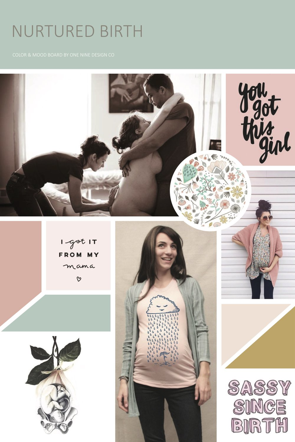 Nurtured Birth Mood Board | One Nine Design Co