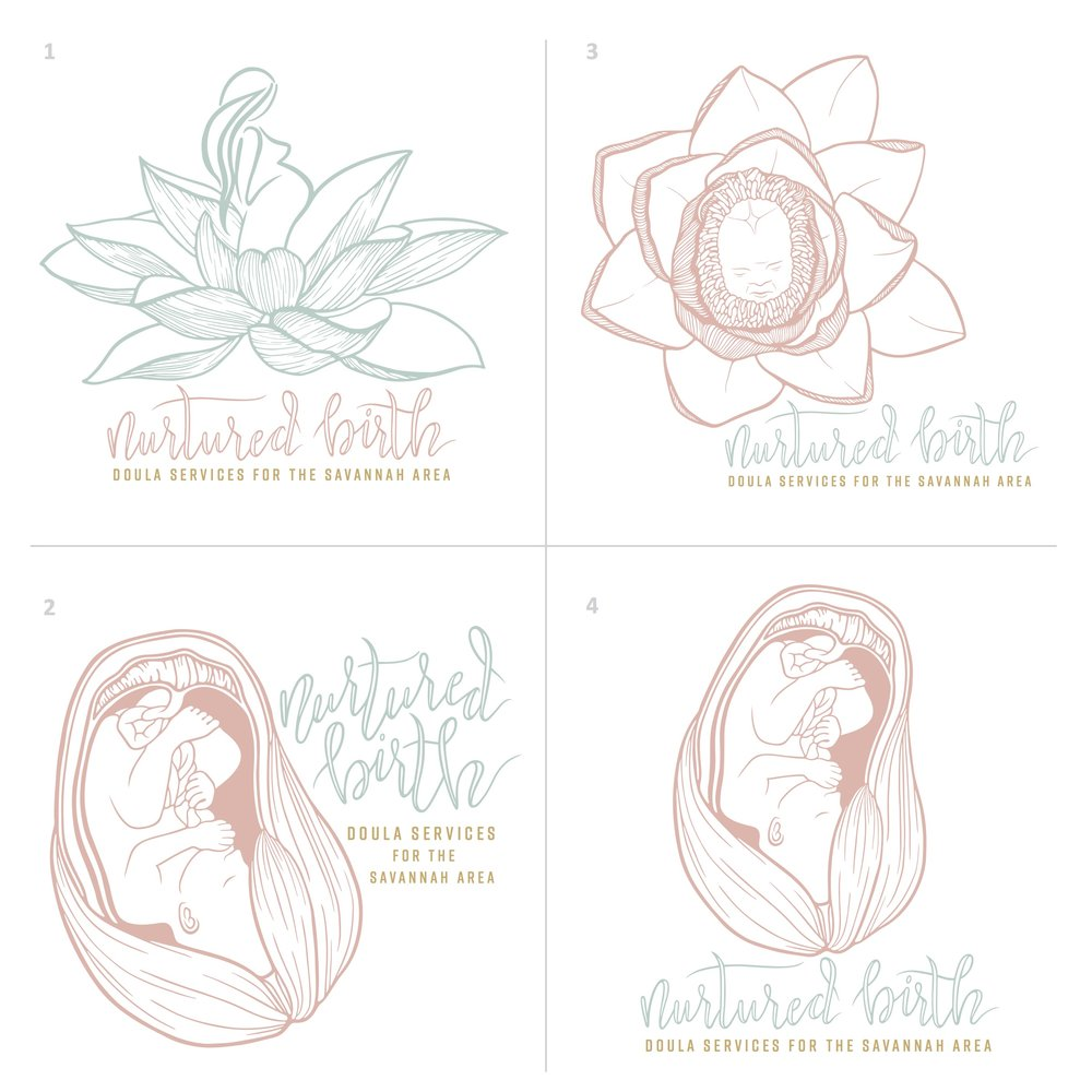 Nurtured Birth Logo Drafts | One Nine Design Co