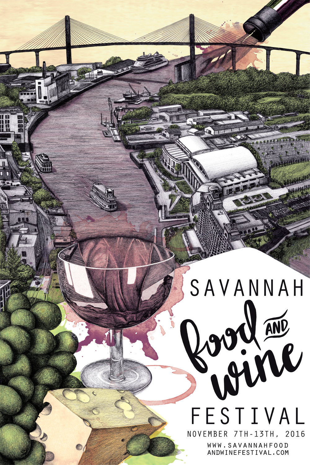 2016 Savannah Food & Wine Festival Poster | Lauren Rich | One Nine Design Co