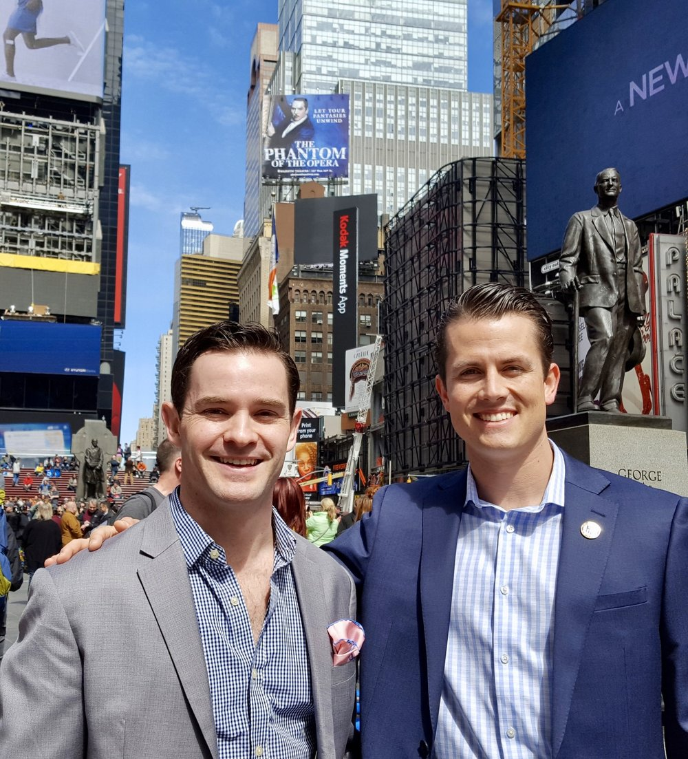 Elite Meet Co-Founders,Jordan Selleck and John Allen, in Times Square NY