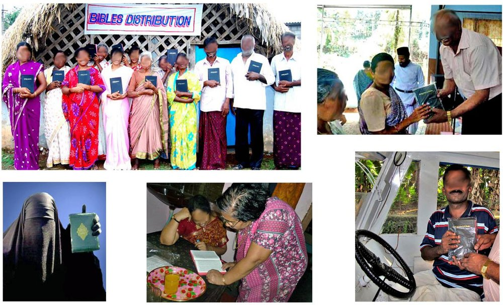 TOP :    (L)   aT A recent bible distribution event;      (R)   a cancer patient receives a bible   Bottom  (L to R):    Muslim woman receives bible;   Hindu woman learning bible;   presenting a passenger boat driver with his own bible