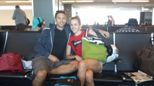 Waiting at the airport, the least sexy part of triathlon.