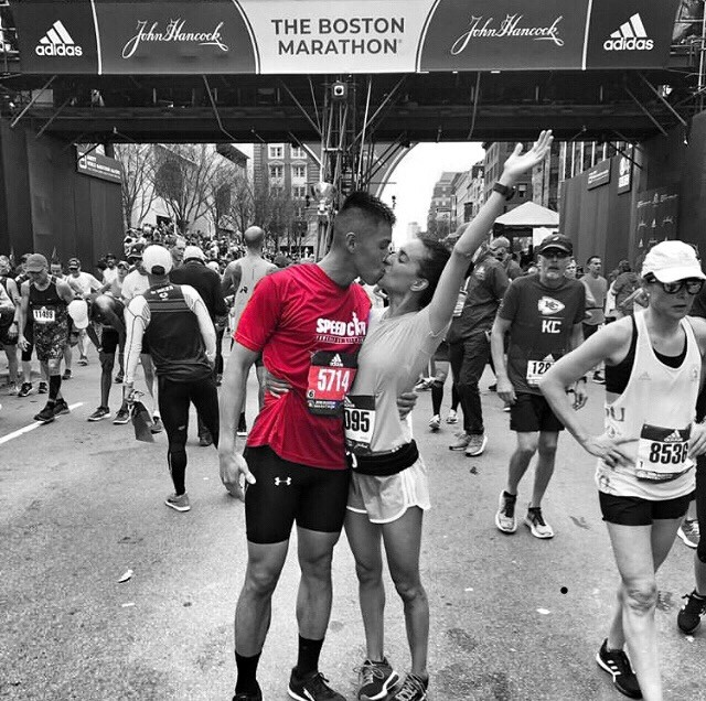 Not only did @coachkai run yesterday's Boston Marathon, but he did so with his future bride, @pineappleyogi, who BQ'ed in her first marathon, and then BQ'ed for her second Boston Marathon in her first Boston Marathon, which was her second marathon. (Got that?)      #poweredbycitycoach #speedcity #bostonmarathon #marathon #bostonstrong #running #boston #run #marathonmonday #marathontraining #runner #runnersofinstagram #runners #instarunners #patriotsday