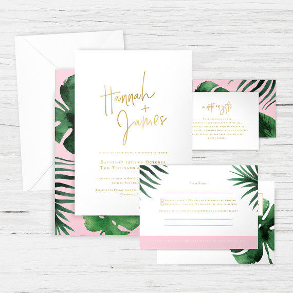 Wedding Invitation Suite in 'Monstera Gold & Pink' - Tropical, Palm; Photo by Honest Paper Shop via Etsy