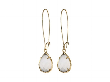 Dee Earring bridesmaid gift in white pearl; Photo by Kendra Scott